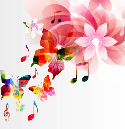 vector butterflies and flower background art