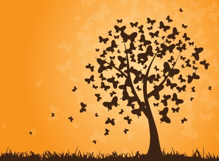 butterflies tree icon silhouette design style