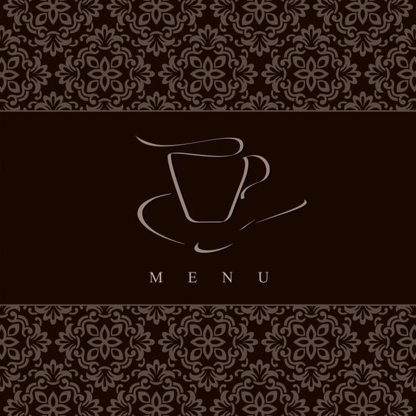menu cover template coffee cup sketch dark classic