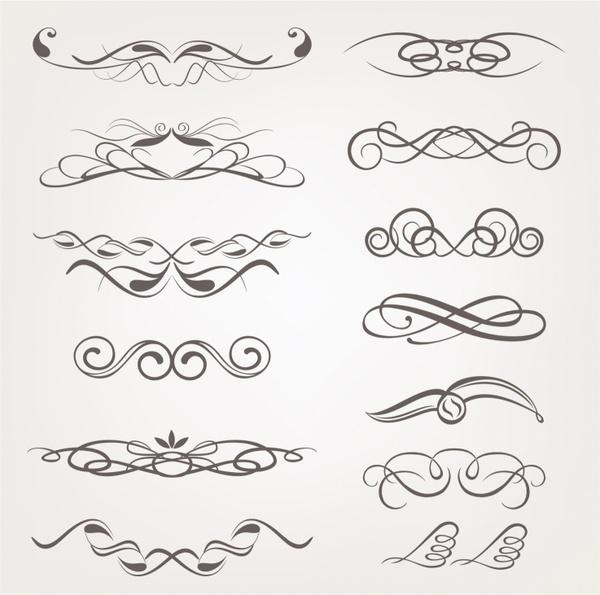 Vector calligraphic decorative design elements