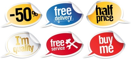 sales promotion stickers collection speech baubles style design