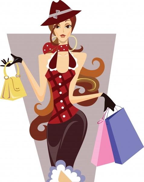 fashion lifestyle painting shopping girl icon cartoon character