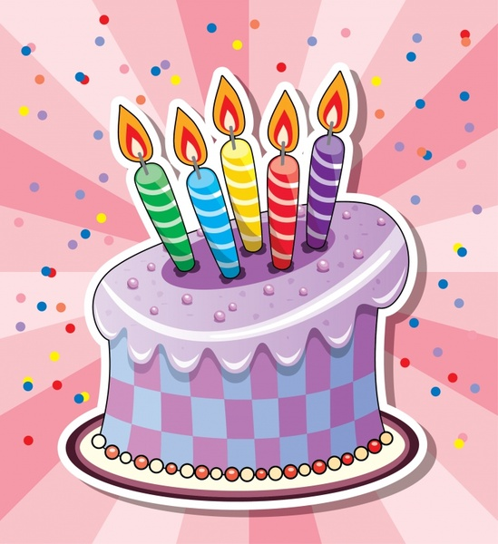birthday background template colorful handdrawn candles cake sketch