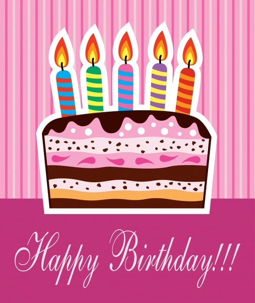 birthday card template flat colorful classical candles cake