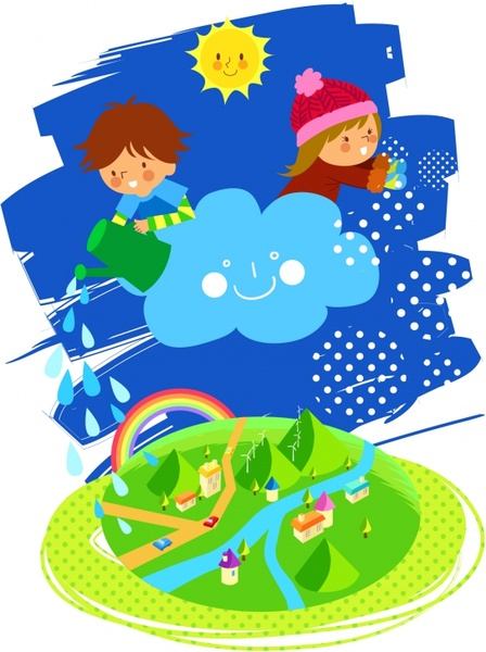 dreaming background children cloud countryside icons cartoon sketch