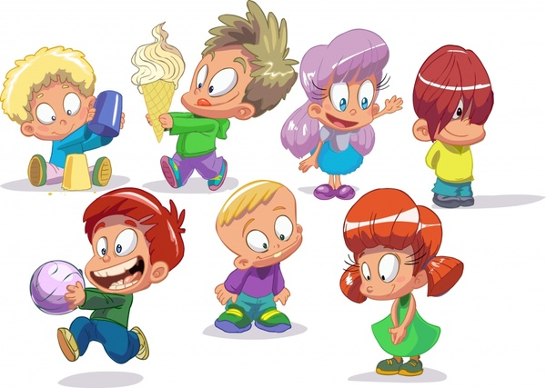 children icons funny cute cartoon characters sketch