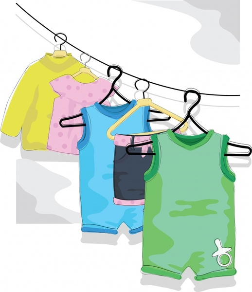 vector cartoon children clothes drying