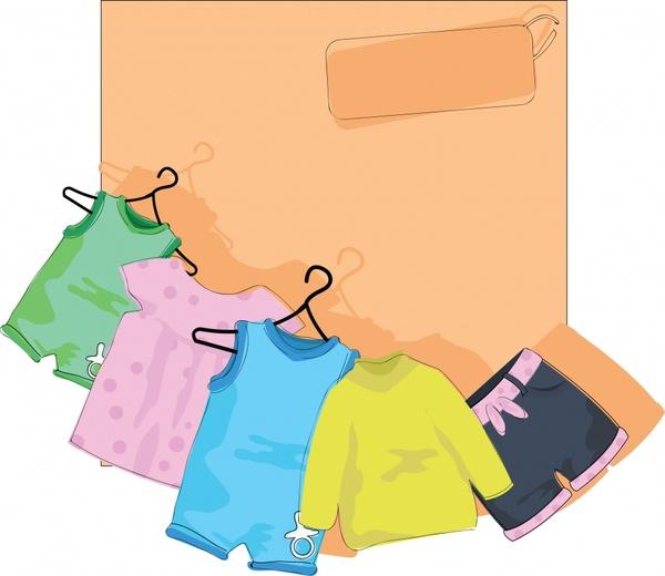 vector cartoon children clothes hanger drying