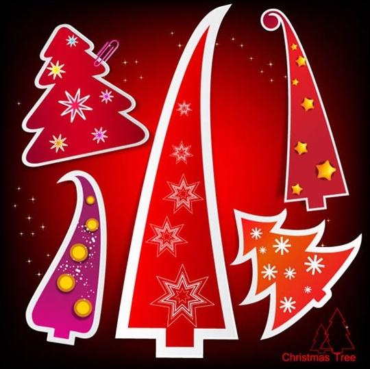 vector cartoon christmas tree tag