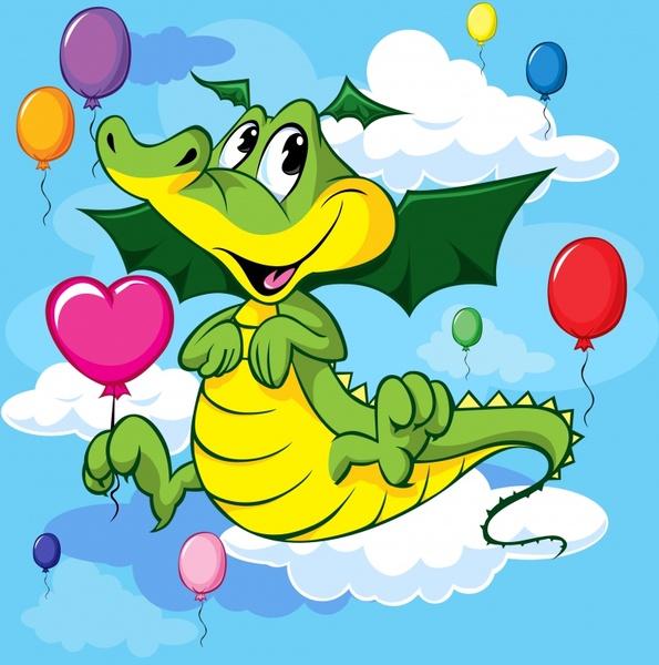 dragon background cute cartoon sketch colorful bright