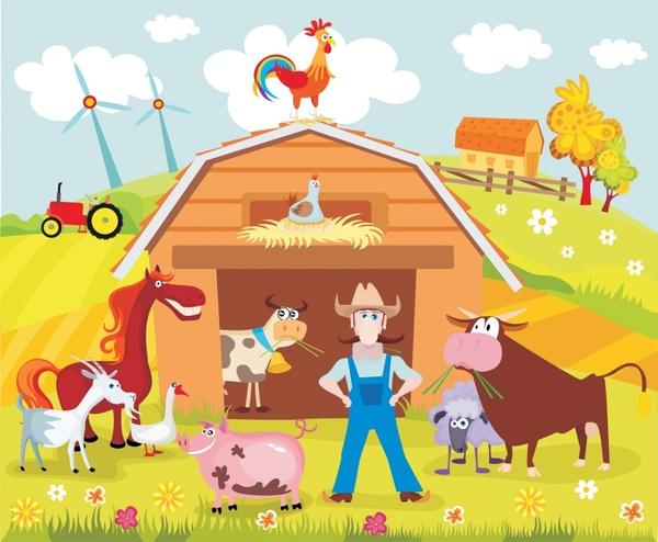 farmland background farmer poultry cattle sketch funny cartoon