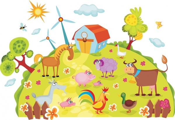 farmland background colorful funny cartoon sketch