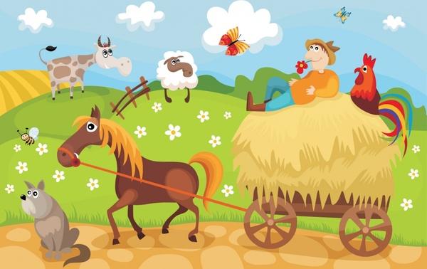farming scene background colorful decor funny cartoon design