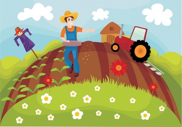 Vector Cartoon Farm Tractor