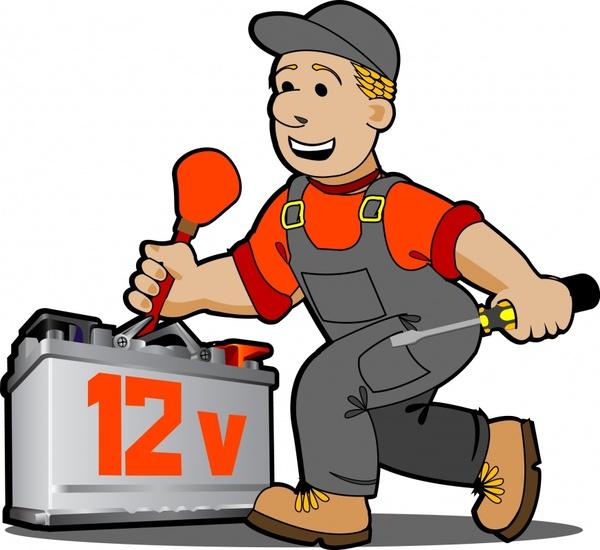 repair man icon colored cartoon sketch 3d design