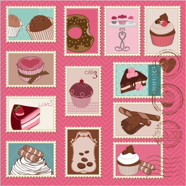 cakes stamps templates collection colored classical handdrawn sketch