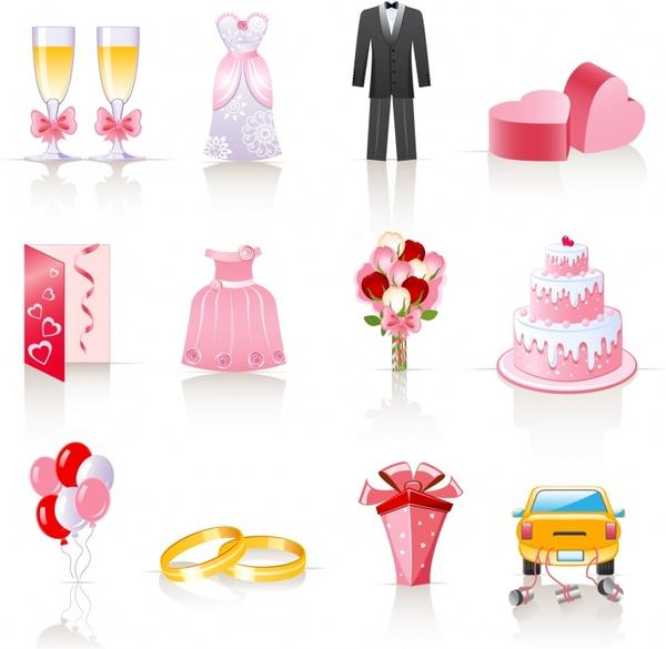 wedding design elements shiny colorful symbols