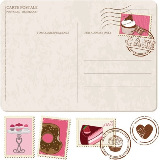 vector cartoon postcard stamps free vector in encapsulated