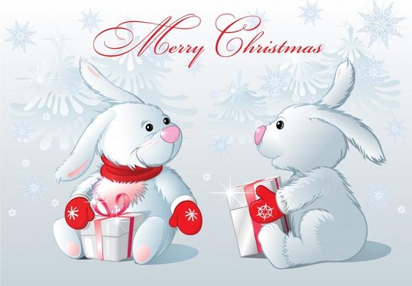 christmas banner cute white bunnies icons decor