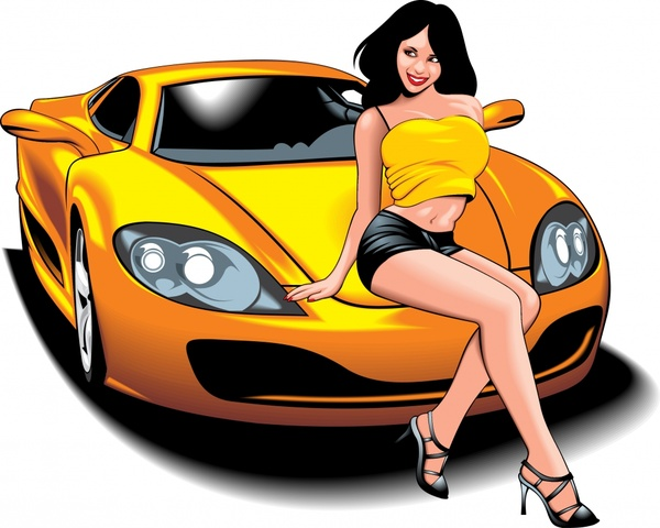 Vector Cartoon Sexy Sports Car Free Vector In Encapsulated