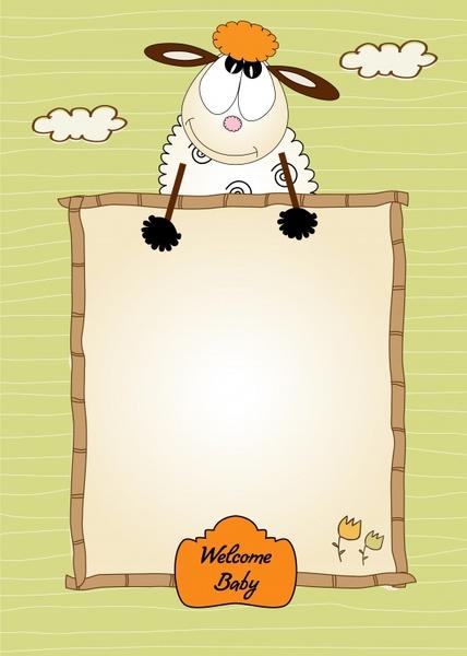 baby background template cute cartoon sheep handdrawn sketch