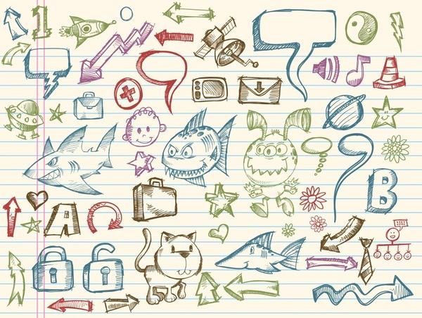 picture book elements handdrawn symbols sketch