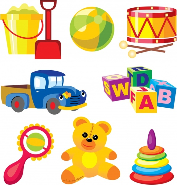 baby toys icons colorful modern 3d design