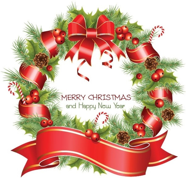 Christmas Wreath Images Free.Vector Christmas Wreath Free Vector In Encapsulated