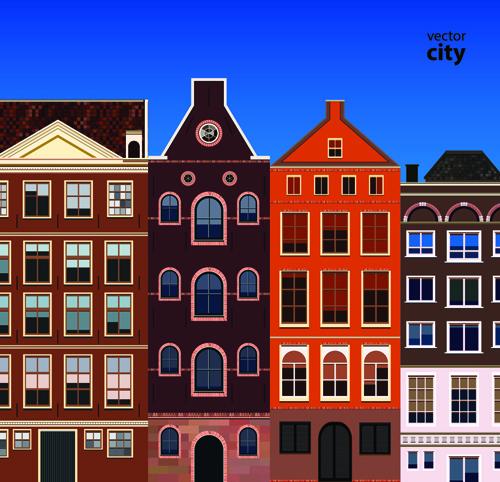 vector city building creative illustration