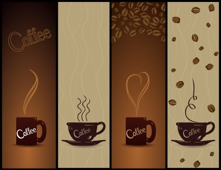 coffee banners design cups beans decoration dark style