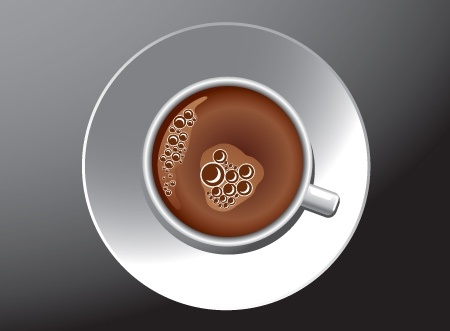coffee cup icon realistic design from high view