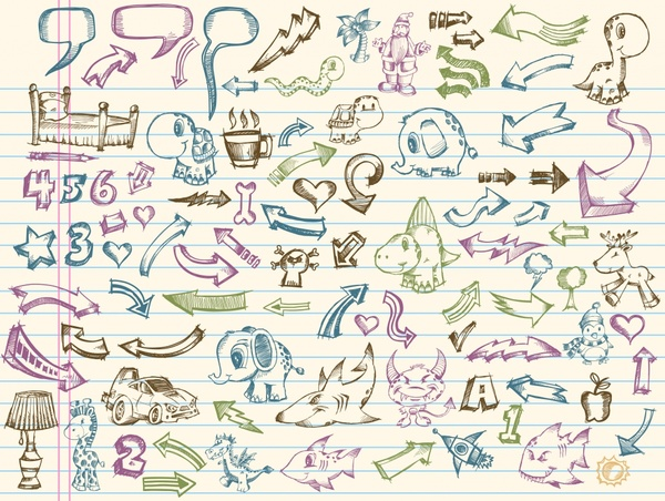 decorative elements collection colored handdrawn icons sketch