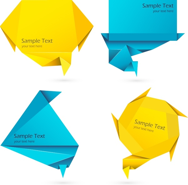 decorative origami templates colored modern 3d shapes