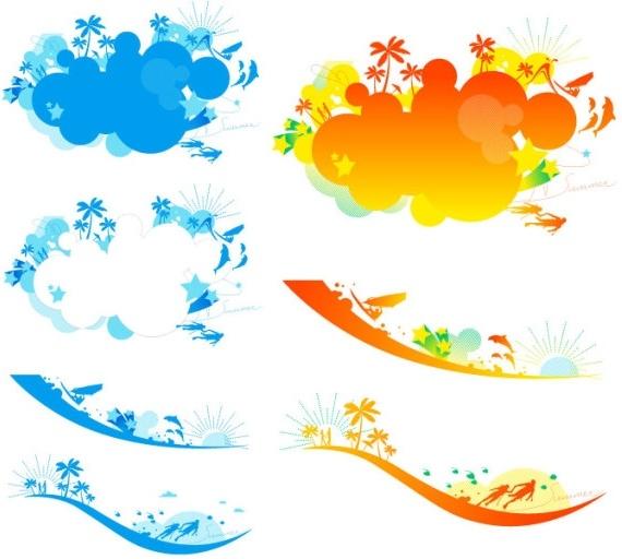 vector colorful beach