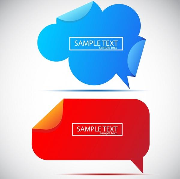 paper sticker templates modern colored speech bubbles shapes