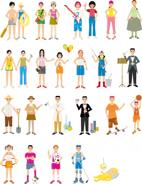 people activities icons colorful cartoon characters