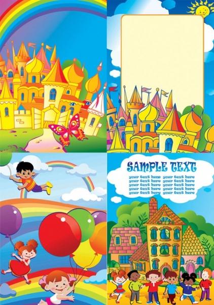 vector colorful children world