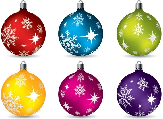 Colorful Christmas Balls.Vector Colorful Christmas Balls Hanging Free Vector In