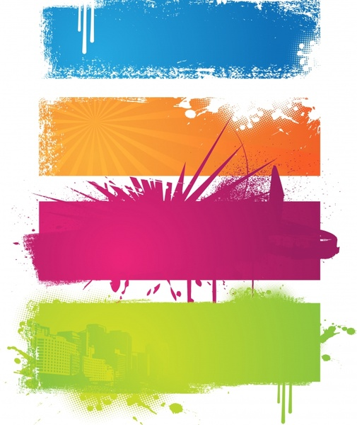 banner templates retro colored grunge paint decor