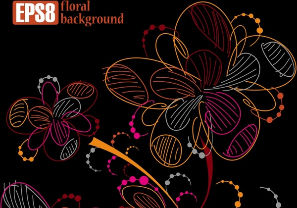 floral background template dark colorful handdrawn sketch