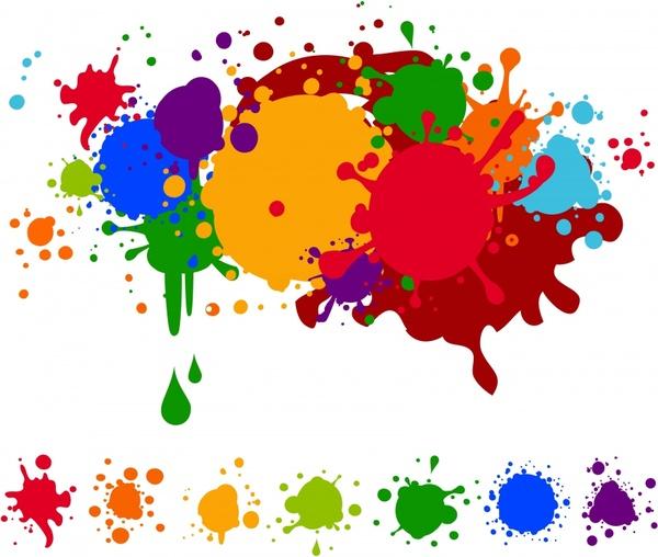 grunge design elements colorful splattered inks