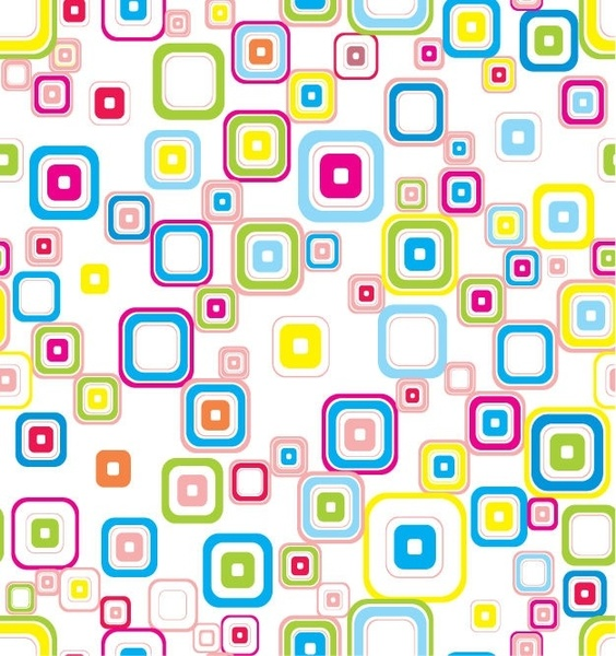 Vector Colorful Seamless Retro Pattern With Rounded Squares