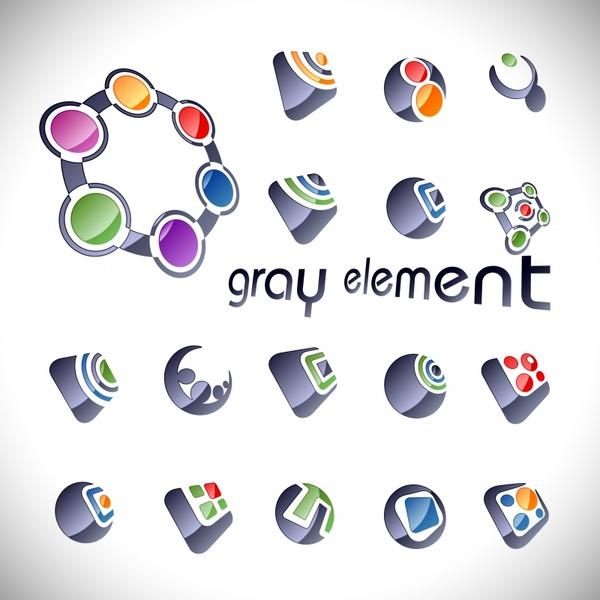 logo templates shiny geometric gray decor