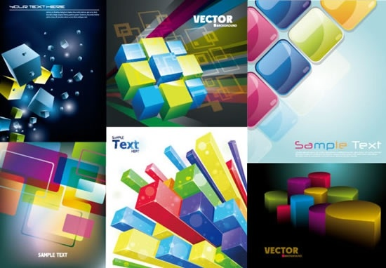 brochure templates modern shiny colorful 3d geometric decor