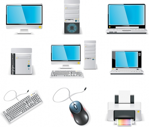 computing devices icons shiny modern colored design
