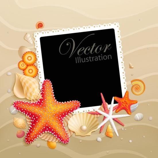 sea background template starfish shell photo frame decor