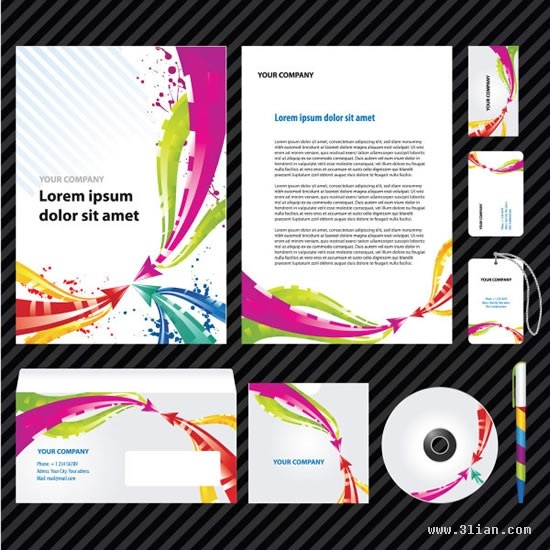 corporate identity templates modern colorful dynamic arrows decor