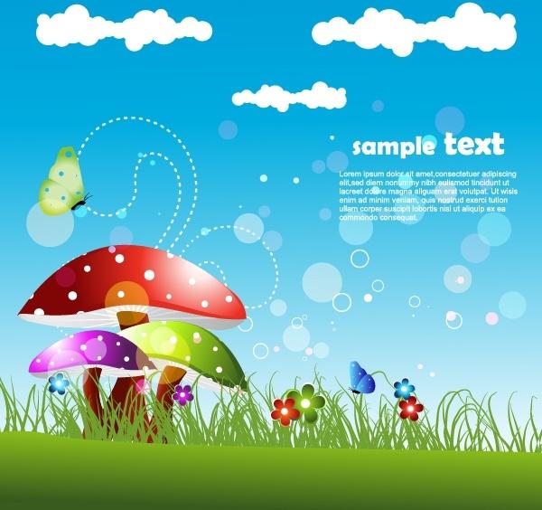 nature background bright colorful mushroom meadow flora decor