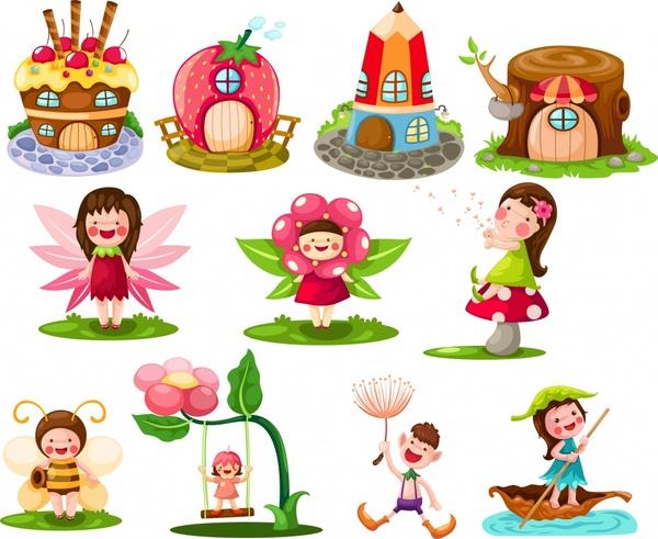 fairy tale design elements cute symbols cartoon sketch