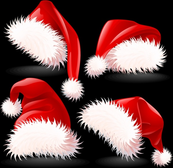 christmas hat icons shiny red white 3d sketch